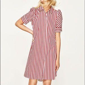 NWT Zara Red White Striped Shirtdress, SZ L